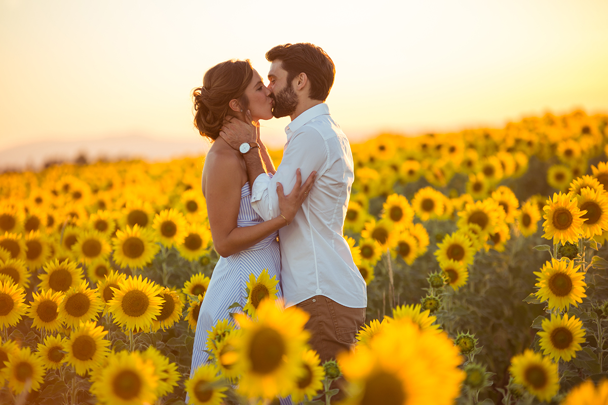 Love Session - Seance Engagement - Photographe - Var -lavande - vigne - provence - tournesol - blé